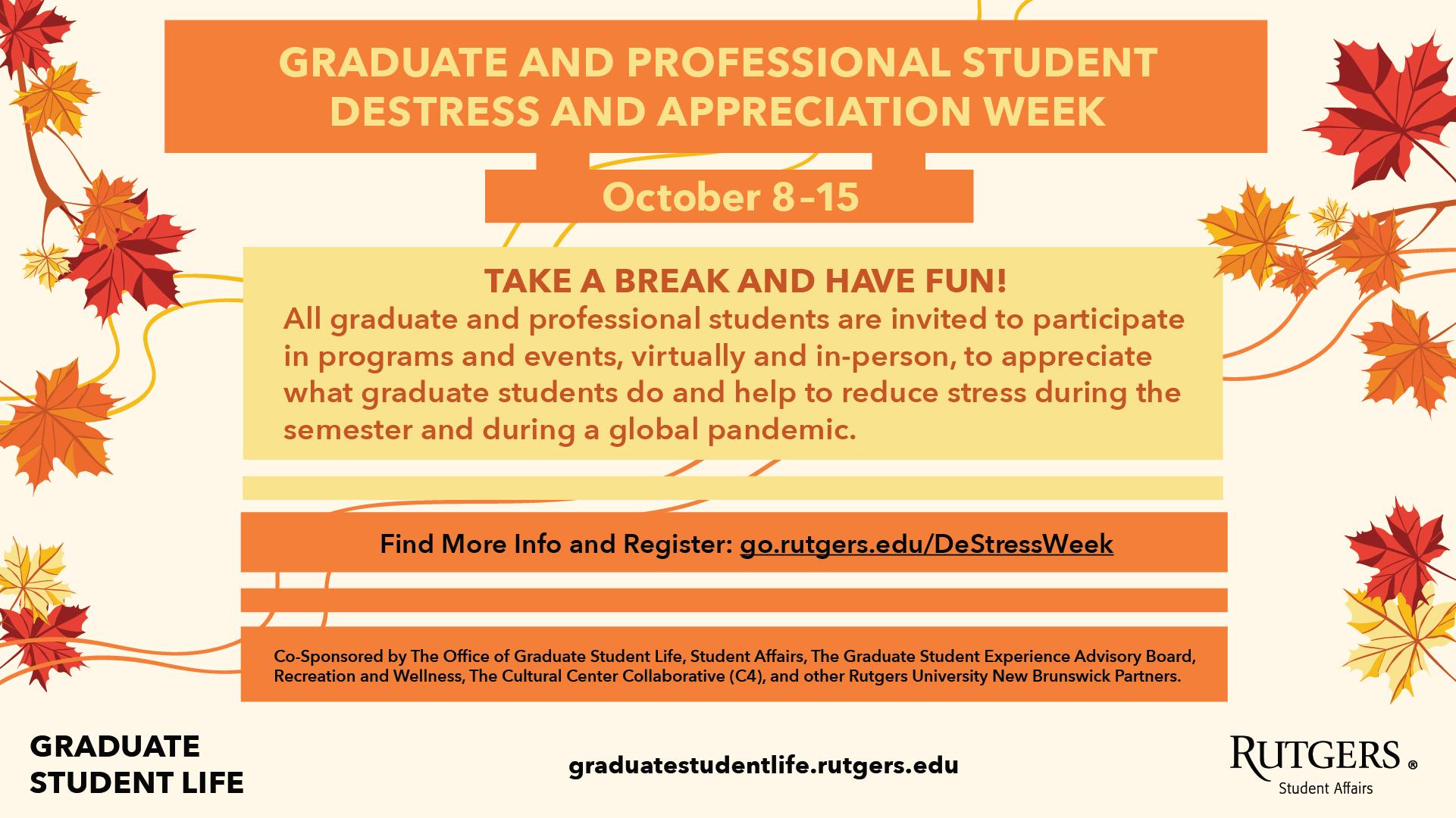 GSL_Graduate-and-Professional-Student-DeStress-and-Appreciation-Week_Digital-Screen_F21