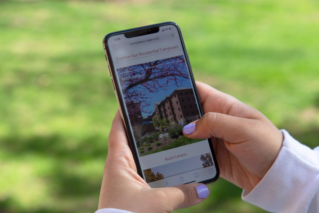 Visiting Residence Life Website on Mobile Phone