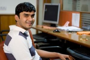 Student at computer