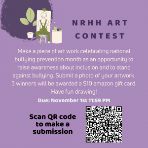Make a piece of art work celebrating national bullying prevention month as an opportunity to raise awareness about inclusion and to stand against bullying.
