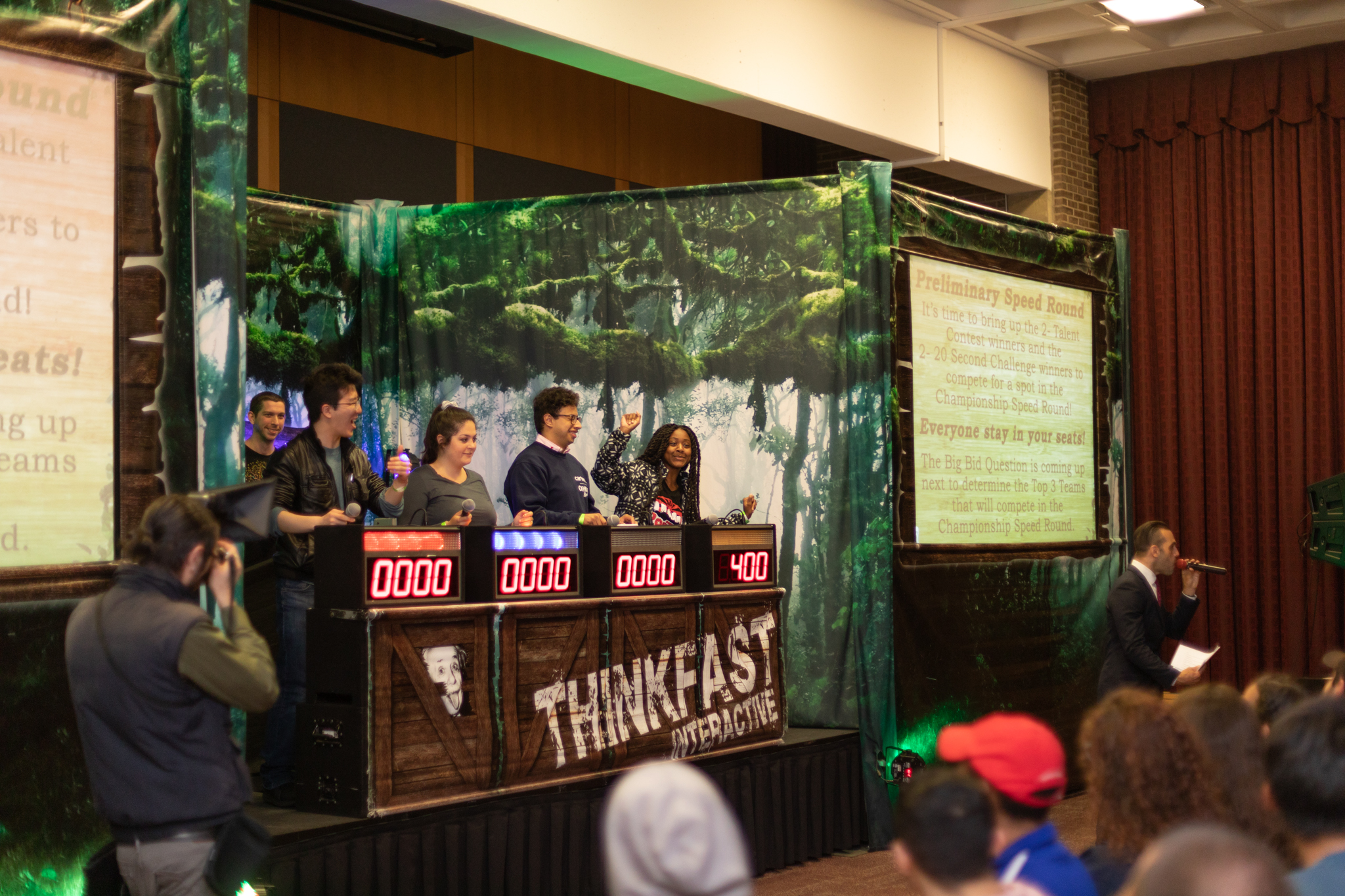 Students playing Think Fast Trivia
