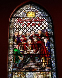 Kirkpatrick Chapel Stainglass showing 1766 Rutgers Charter Signing