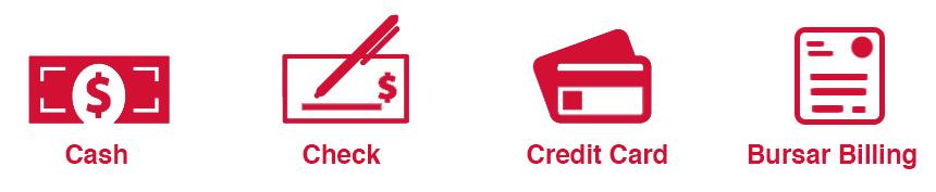 Cash, Check, Credit Cards, Bursar Billing