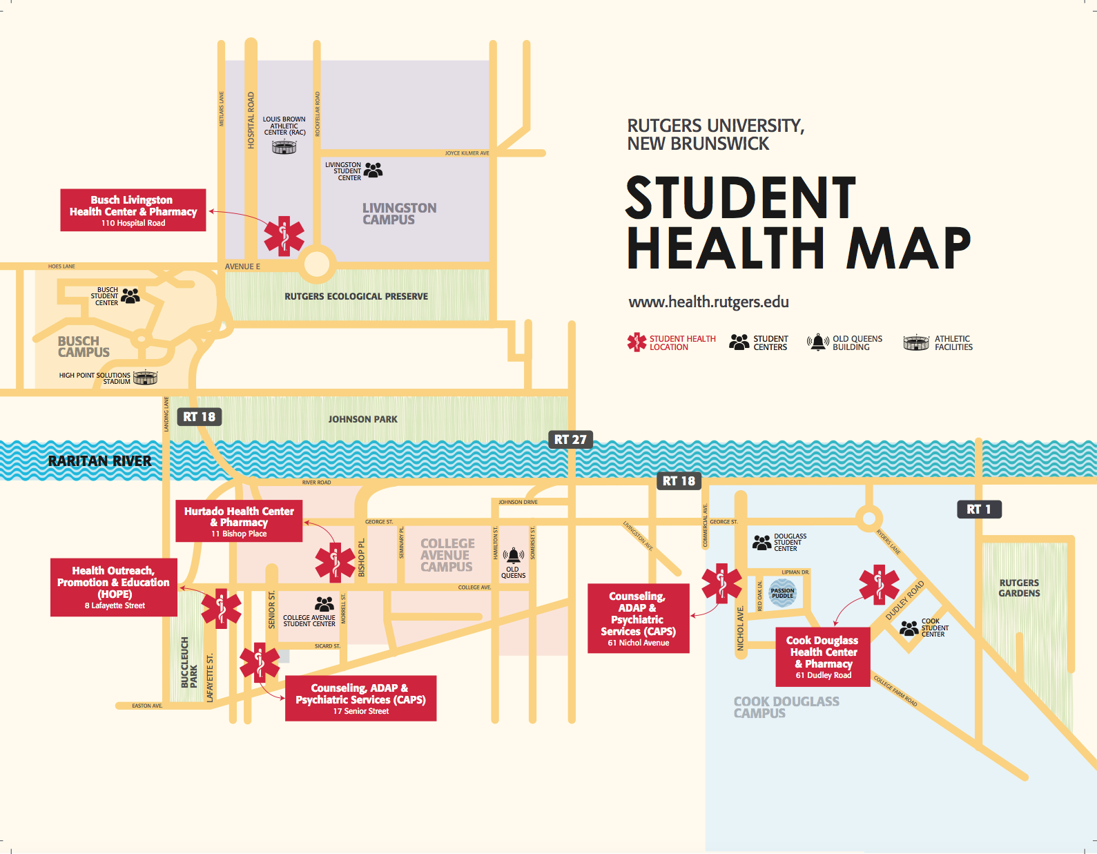 Map of Student Health Locations